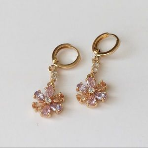 New gold filled dangle earrings jewelry floral